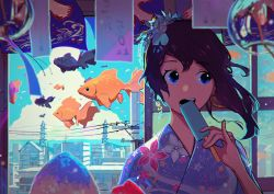 1girl blue_eyes building city cloud eating fish floral_print flower goldfish hair_flower hair_ornament highres house indoors japanese_clothes kimono looking_to_the_side open_mouth original pine_(yellowpine112) popsicle power_lines purple_hair scenery sky solo surreal telephone_pole upper_body wind wind_chime window yukata