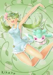 1girl dark_skin fomantis green_eyes green_hair highres ladle looking_at_viewer mao_(pokemon) pokemon pokemon_(game) pokemon_sm smile solo twintails