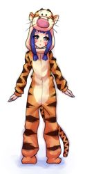 1girl animal_costume blue_hair blush brown_eyes cosplay disney facial_tattoo genderswap maeda_inuchiyo monorus oda_nobuna_no_yabou payot solo tail tattoo tiger_costume tiger_hood tiger_print tigger tigger_(cosplay) winnie_the_pooh