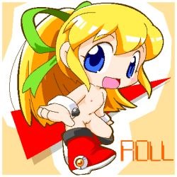 1girl blonde_hair blue_eyes blush boots capcom chibi female flat_chest hair_ribbon loli long_hair lowres navel nipples nude open_mouth ponytail pussy ribbon rockman rockman_(classic) roll sggg solo tagme uncensored