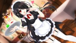1girl alternate_costume black_hair blush breasts cafe chair cleavage date_a_live enmaided feet garter_straps glass hair_over_one_eye hairband heart long_hair maid maid_headdress medium_breasts miniskirt open_mouth parfait red_eyes red_ribbon ribbon skirt smile soda solo standing table thighhighs thighs tokisaki_kurumi tray twintails white_legwear zettai_ryouiki