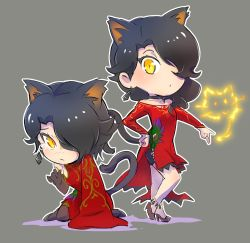 1girl alternate_costume alternate_hairstyle animal_ears black_hair cat cat_ears cat_tail chibi cinder_fall commentary_request dual_persona earrings fire hair_over_one_eye high_heels iesupa jewelry rwby sad tail tears yellow_eyes