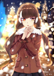 1girl alternate_hairstyle black_hair blush character_name christmas christmas_tree coat cowboy_shot earmuffs girls_frontline heterochromia highres looking_away mou_zhi_pingguo multicolored_hair orange_eyes pov ro635_(girls_frontline) skirt snow snowing solo streaked_hair twintails white_hair yellow_eyes