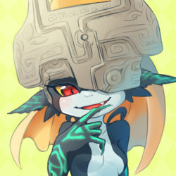 1girl blonde_hair blush breasts bust fangs helmet imp long_hair midna neon_trim one_eye_covered open_mouth pointy_ears red_eyes smile solo the_legend_of_zelda twilight_princess ukata yellow_background yellow_sclera