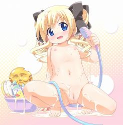 akechi_kokoro barefoot blonde_hair blue_eyes blush bow bucket cleft_of_venus drill_hair fang feet flat_chest hair_bow hiro_hiroki hose loli long_hair mound_of_venus naughty_face nipples nude pussy rubber_duck shampoo shower_head spread_legs squatting tantei_opera_milky_holmes toes twin_drills uncensored