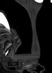 1boy berserk crossover dragonslayer_(sword) guts huge_weapon long_hair mahou_shoujo_madoka_magica monochrome nemo_(nameless920) sword weapon witch_(madoka_magica)