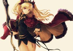 1girl arched_back black_dress blonde_hair breasts cape cowboy_shot dress ereshkigal_(fate/grand_order) fate/grand_order fate_(series) floating_clothes floating_hair hair_ribbon highres long_hair looking_at_viewer red_cape red_eyes red_ribbon ribbon short_dress small_breasts smile thighs tiara tohsaka_rin twintails two_side_up yuririensu