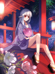 1girl absurdres architecture bangs breasts cleavage dotr east_asian_architecture fan fireworks floral_print flower flower_request folding_fan highres japanese_clothes kimono kneehighs lantern long_hair long_sleeves night night_sky paper_fan paper_lantern pointy_ears red_eyes sandals shrine sitting sky smile solo tagme uchiwa white_hair white_legwear yukata