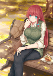 1girl alternate_costume bag blue_eyes blush braid breasts casual coffee_cup denim food ginkgo hamburger handbag highres holding hong_meiling jeans large_breasts legs_crossed long_hair no_hat no_headwear pants red_hair saraso-ju sitting sitting_on_bench sleeves_rolled_up smile solo sweater_vest touhou tree twin_braids watch