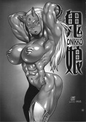 1girl abs absurdres ass bikini breasts female gradient gradient_background greyscale highres large_breasts monochrome muscle muscular_female oni original pasties po-ju ponytail slit_pupils solo swimsuit thighhighs thong