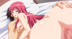 animated animated_gif ass ass_grab bed blue_eyes breast_grab breasts censored huge_ass large_breasts long_hair maki-chan_to_nau nipples nude penis pink_hair pussy pussy_juice sanjou_maki sex vaginal