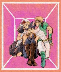 1girl 2boys box breast_smother caesar_anthonio_zeppeli cheek_squash family jojo_no_kimyou_na_bouken joseph_joestar_(young) multiple_boys nishiyama_(whatsoy) suzi_quatro