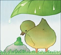 anus artist_name ayu_(mog) bird black_eyes border duck duckling frog from_behind gradient_background grass leaf lowres no_humans original outdoors rain solid_circle_eyes water