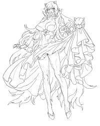1girl absurdly_long_hair breasts claws cleavage cosmic_bear covered_mouth dress dress_in_mouth dress_lift eyelashes full_body horns kantai_collection legs long_hair long_legs looking_at_viewer midway_hime ruffled_sleeves shinkaisei-kan simple_background sketch solo teeth thighs veins very_long_hair white_background