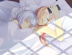 2girls binbougami_ga! blonde_hair cellphone couple eyes_closed hair_over_one_eye hinagi_(fox_priest) holding long_hair lying lying_on_person momiji_(binbougami_ga!) multiple_girls naked_sheet nude on_back on_side phone pillow sakura_ichiko short_hair silver_hair sleeping sunlight under_covers yellow_eyes yuri
