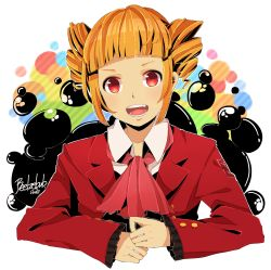 1girl ascot azya bad_id beelzebub blonde_hair drill_hair fang highres open_mouth red_eyes short_hair smile solo stakes_of_purgatory umineko_no_naku_koro_ni