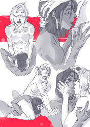 2girls artist_request breasts comic cunnilingus dark_skin facial_mark female gradient_background hand_on_another's_head kiss licking mercy_(overwatch) monochrome multiple_girls nipples nude overwatch pharah_(overwatch) ponytail short_hair tongue yuri