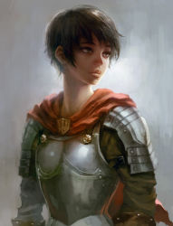 1girl armor berserk black_hair breastplate cape casca female horim lips nose pauldrons realistic solo