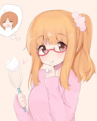 1girl absurdres alternate_hairstyle beige_background bespectacled blush brown_eyes doorknoble girls_und_panzer glasses highres long_hair looking_at_viewer nishizumi_miho orange_hair red-framed_eyewear semi-rimless_glasses short_hair side_ponytail simple_background solo takebe_saori thought_bubble under-rim_glasses