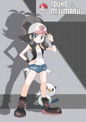 blue_eyes brown_hair hainchu oshawott pokemon touko_(pokemon)