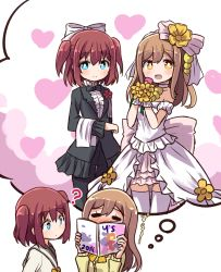 2girls :d ? blue_eyes blush bouquet bow bowtie brown_hair collarbone dress eyes_closed flower hair_ornament heart holding kunikida_hanamaru kurosawa_ruby long_hair looking_at_viewer love_live! love_live!_sunshine!! magazine multiple_girls open_mouth orange_eyes red_hair school_uniform serafuku shikei_(jigglypuff) short_hair simple_background smile thighhighs thought_bubble twintails two_side_up wedding_dress yellow_bow yuri