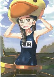 1girl animal_hat bird black_hair blue_swimsuit blush blush_stickers braid breasts brown_eyes character_name cloud cloudy_sky duck fukuda_(girls_und_panzer) girls_und_panzer glasses ground_vehicle hair_over_shoulder hat highres long_hair looking_at_viewer military military_vehicle motor_vehicle name_tag nenchi one-piece_swimsuit open_mouth outdoors parted_lips scan school_swimsuit sky small_breasts solo standing swimsuit tank twin_braids twintails wavy_mouth