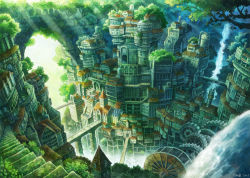 2015 arch bridge chimney city cityscape fantasy flag fog forest from_above gears kemi_neko nature no_humans original scenery signature stairs sunlight tree water waterfall watermill
