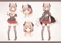 1girl anger_vein bare_shoulders blush brown_eyes brown_hair character_sheet choker commentary_request covered_mouth demon_horns earrings ello heart high_heels horns jewelry letterboxed looking_at_viewer nude open_mouth pixiv_fantasia pixiv_fantasia_t smile solo thighhighs