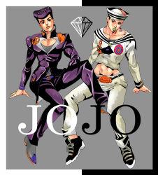 2boys diamond dixie_cup_hat gakuran green_lipstick hat higashikata_jousuke higashikata_jousuke_(jojolion) joestar_birthmark jojo_no_kimyou_na_bouken jojolion lipstick makeup male midriff military_hat multiple_boys namesake orange_lipstick pompadour purple_eyes purple_hair school_uniform shikkoku_no_notto