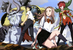 1boy 1girl absurdres armor bandai blue_hair bodysuit breasts brown_eyes brown_hair cape copyright_name creature digimon digimon_adventure digimon_adventure_tri. fangs female glasses hammer helmet highres horned_helmet horns kido_jou legs long_hair midriff monster newtype official_art rosemon sasaki_masakatsu school_uniform serious shield shoes short_hair skirt sky sneakers squatting tachikawa_mimi thorns vikemon wallpaper weapon