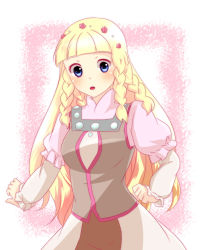 1girl blonde_hair blue_eyes blush braid breasts dress flower long_hair open_mouth rose shirley_fennes skirt tales_of_(series) tales_of_legendia