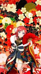 artist_request bow fan grey_eyes japanese_clothes kimono love_live! nishikino_maki red_hair