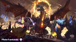 4girls absurdres animal_ears battle book dragon electricity fire fox_ears fox_tail group_battle highres levitation magic mask_on_head multiple_girls outdoors pixiv_fantasia short_hair silver_hair staff stflash tail twintails western_dragon wings