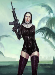 1girl black_legwear blue_eyes bodysuit breasts gradient_background gun habit hitman_(game) lace-up_boots large_breasts latex latex_gloves lipstick nun rifle skin_tight solo thigh_boots thighhighs w4 weapon