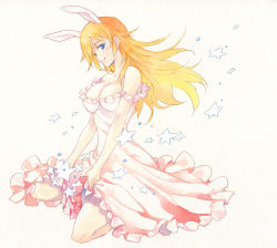 1girl agahari alternate_costume animal_ears bare_shoulders blue_eyes breasts bunny_ears charlotte_e_yeager cleavage dress dress_lift female formal frilled_dress frills full_body grin large_breasts long_hair looking_at_viewer neck off-shoulder_dress orange_hair parted_lips pink_dress seiza sitting smile solo star strike_witches traditional_media world_witches_series