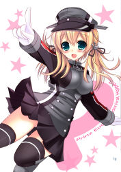 1girl :d absurdres anchor_hair_ornament blonde_hair bow dutch_angle gloves green_eyes hair_bow hair_ribbon hat highres kantai_collection long_hair looking_at_viewer open_mouth peaked_cap pointing prinz_eugen_(kantai_collection) ribbon smile solo standing_on_one_leg twintails white_gloves yuutsuki_hina