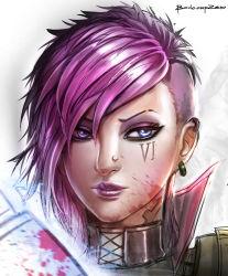1girl artist_name badcompzero blue_eyes earrings face jewelry league_of_legends pink_hair short_hair signature solo vi_(league_of_legends)