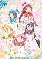 akemi_homura cat_bell cat_paws catsuits kaname_madoka mahou_shoujo_madoka_magica mami_tomoe official_art sayaka_miki