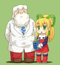 1boy 1girl arms_behind_back beard blonde_hair blush boots buttons dress energy_tank facial_hair father_and_daughter flower frills green_eyes hair_ribbon labcoat long_hair long_sleeves mizuno_mumomo necktie payot ponytail puffy_long_sleeves puffy_sleeves red_dress ribbon rockman rockman_(classic) roll thomas_light white_hair