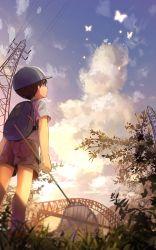 1boy backpack bag bridge cloud cocolo_(co_co_lo) hat highres looking_up male_focus original shorts sky solo summer