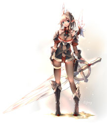 1girl arm_guards armor asymmetrical_legwear bangs black_legwear blonde_hair bodysuit boots breasts character_name elf fantasy feathers green_eyes hair_between_eyes hair_ornament holding holding_sword holding_weapon large_breasts looking_at_viewer original pantyhose pixiv_fantasia pixiv_fantasia_t pointy_ears ponytail shoulder_pads skin_tight sleeveless solo standing sword thigh_strap weapon white_background windforcelan