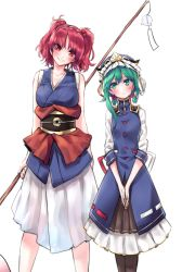 2girls bare_shoulders black_legwear blush breasts cowboy_shot dress epaulettes green_eyes green_hair hair_between_eyes hair_bobbles hair_ornament hands_together hat hat_ribbon head_tilt highres large_breasts looking_at_another mappe_(778exceed) multiple_girls obi onozuka_komachi red_eyes red_hair ribbon sash scythe shiki_eiki short_hair short_sleeves side-by-side sidelocks simple_background sketch sleeveless small_breasts smile thighhighs touhou turtleneck twintails vest white_background