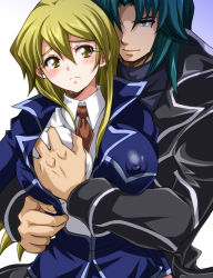 1boy 1girl blush breast_grab couple erect_nipples grabbing grabbing_from_behind jacket marufuji_ryou matsubara_kanabun necktie school_uniform shirt smile tenjouin_asuka upper_body white_shirt yu-gi-oh! yuu-gi-ou_gx