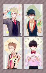 4boys :| arm_at_side bangs black_hair black_pants black_vest blonde_hair blood_type blue_eyes blunt_bangs border bow bowtie brothers brown_hair buttons changye closed_mouth collared_shirt hair_between_eyes hanazawa_teruki hand_up highres holding jacket kageyama_ritsu kageyama_shigeo long_sleeves looking_at_viewer male_focus mob_psycho_100 multiple_boys necktie outstretched_arm pants pink_necktie polka_dot print_shirt red_bow red_bowtie red_necktie shirt siblings smile star star_print striped suspenders suzuki_shou upper_body yellow_eyes yellow_shirt