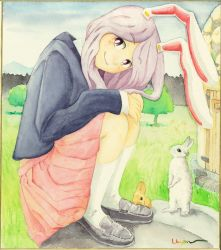 1girl animal_ears arm_rest artist_name blazer blue_sky building bunny bunny_ears graphite_(medium) hands_on_knees head_tilt highres kneehighs lavender_hair long_hair long_sleeves looking_at_viewer mountain outdoors pleated_skirt red_eyes reisen_udongein_inaba shikishi sitting skirt sky smile solo touhou traditional_media tree uryan! watercolor_(medium) white_legwear