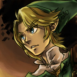 1boy blonde_hair blue_eyes chainmail hat link male pointy_ears sen_(pixiv111638) solo the_legend_of_zelda tunic twilight_princess