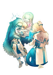 asymmetrical_wings blonde_hair blue_hair bow dizzy eyepatch family father_and_son guilty_gear guilty_gear_2 highres hug husband_and_wife ky_kiske long_hair mother_and_son necro ponytail red_eyes ribbon san_(winteroll) sin_kiske skull tail tail_ribbon tears twintails undine_(guilty_gear) wings