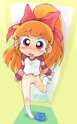 1girl akatsutsumi_momoko blush bottomless cartoon_network casual changing_room female full_body hair_ornament hair_ribbon high_ponytail indoors leg_up legs loli long_hair navel open_mouth orange_hair panties panties_removed pink_eyes ponytail powerpuff_girls powerpuff_girls_z pussy ribbon sakurabe_notosu shirt skirt skirt_removed socks solo standing_on_one_leg surprised sweatdrop uncensored underwear undressing