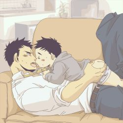 2boys age_difference ass ass_grab black_hair couch family father_and_son groping incest kiss lying lying_on_person male_focus multiple_boys open_mouth shota size_difference tongue undressing yaoi
