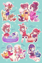 6+girls alternate_costume blonde_hair blue_(pokemon) blue_hair brain_freeze brown_hair chibi crystal_(pokemon) dual_persona eating espeon fan flareon flower food fruit glaceon hair_ornament hair_ribbon hairclip haruka_(pokemon) haruka_(pokemon)_(remake) highres hikari_(pokemon) ice_cream japanese_clothes jolteon kimono kotone_(pokemon) leafeon long_hair mei_(pokemon) melon multiple_girls no_headwear paper_fan pikachu pikachu_(cameo) pokemon pokemon_(game) pokemon_xy ponytail radio ribbon serena_(pokemon) sunflower sylveon torute touko_(pokemon) twintails two_side_up uchiwa umbreon vaporeon wading_pool
